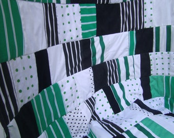 Bedding - green black  Patchwork   Blanket  -  Home decor - Throw Blanket