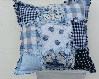 blue  white Rag Quilt Pillow  case , mari time Pillow , Lap Quilt - Home decor
