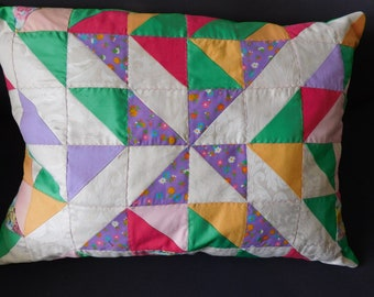 green  Pillow cover with half sq are Triangle - Patchwork Quilt - Home decor