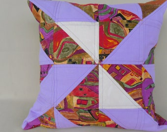 Pillow Cover , 40 x 40 cm , purple quilted Pillow cover , Pinwheel Pillow , Patchwork pillow , Home decor