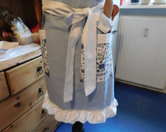 Women's Cooking Apron from Linen ,  light  blue Kitchen apron