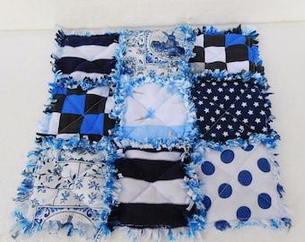 blue white Rag Quilt Table Runner