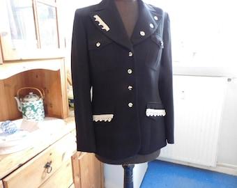 Up cycling Jacket , black Wool jacket Size M , Jacket with Lace