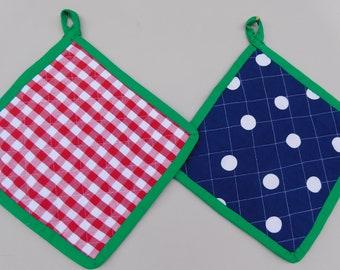 Potholder , Set from 2 red white checkered Potholders