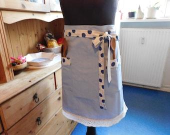 Women's Apron , light blue  Women's Kitchen Linen apron , Women's Cooking apron