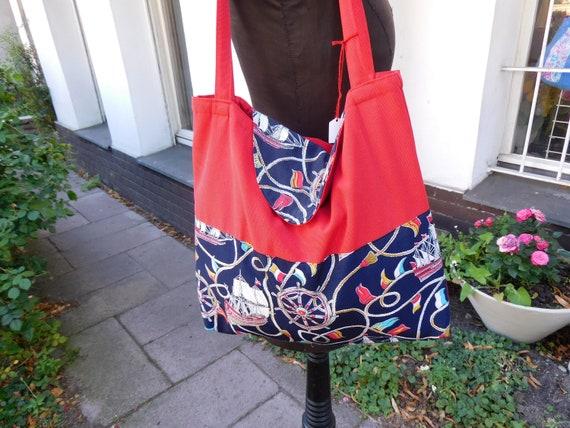 Rote Stoffbeutel BeutelNautical Stoff Tasche StofftascheSchultertasche TascheMaritimer Blau Baumwolltasche wPkXTiOluZ