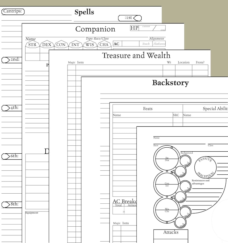 Half Letter 8-page Character Sheet--5e