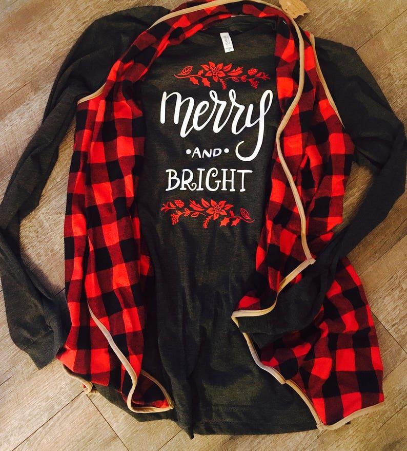 528123d7 Merry and bright christmas long sleeve bella shirts. Christmas | Etsy