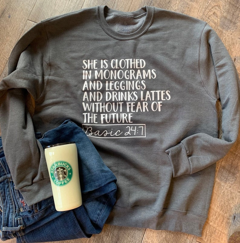 5b3a521dd7 She is clothed in monograms and leggings and drinks lattes | Etsy