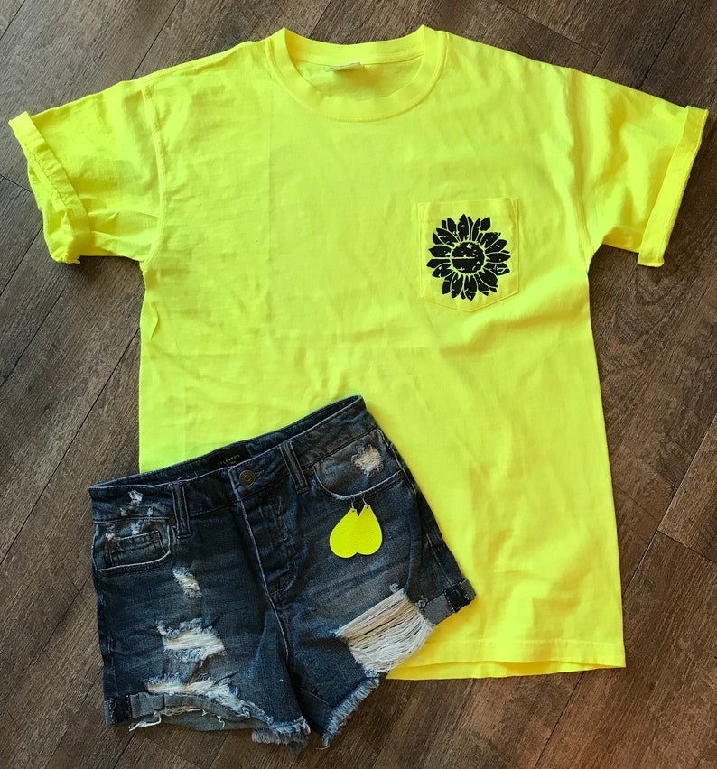 40eaf6e1c Distressed sunflower comfort colors pocket tee in bright neon yellow.  mothers day gift. summer shirt. womens graphic tee.
