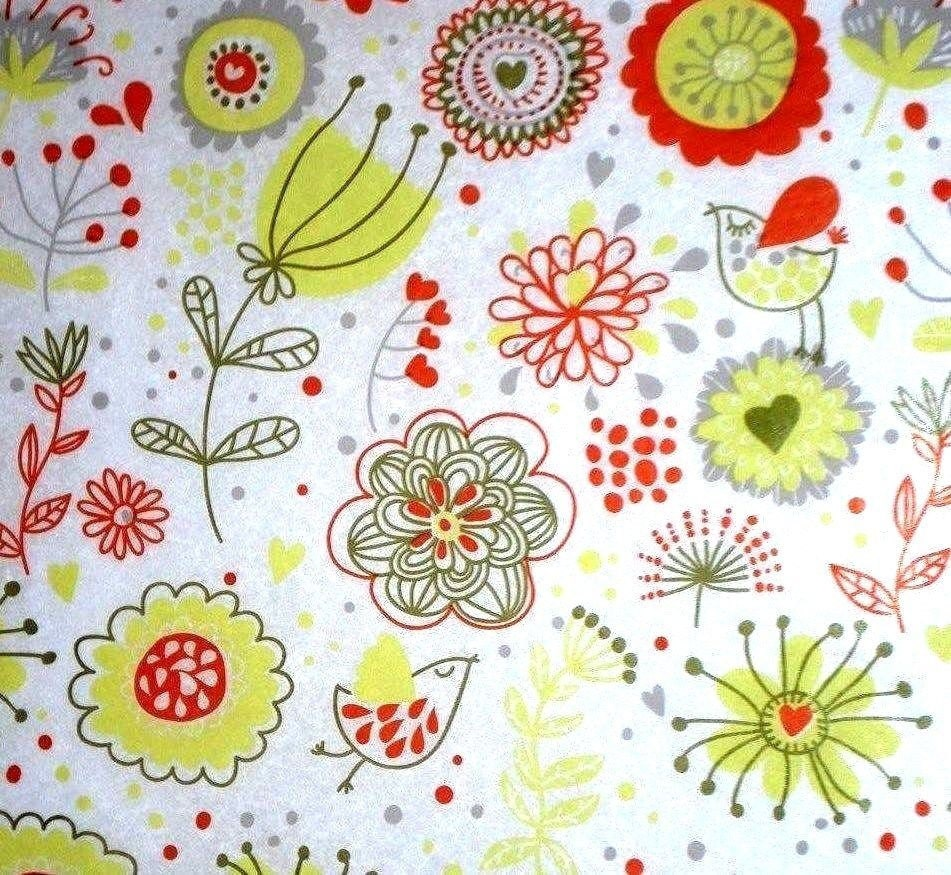 Birds Flowers Tissue Paper 387 Gift Wrap On Ivory Etsy