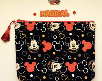 d8984f831e Mickey Mouse Print Cosmetic Pencil Bag  100% Cotton Lining with Tassel