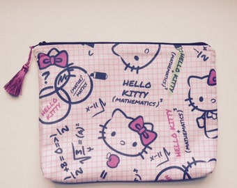 Hello Kitty Cosmetic Pencil Bag  100% Cotton Lining with Tassel 814946d8fd8bd