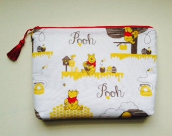 Winnie the Pooh Cosmetic/Pencil Bag; 100% Cotton Lining with Tassel