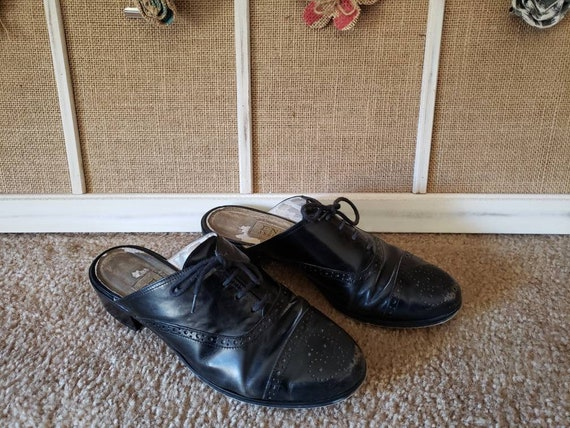 Vintage 1980s Black Leather US Size 6.5 Ladies Ox… - image 3