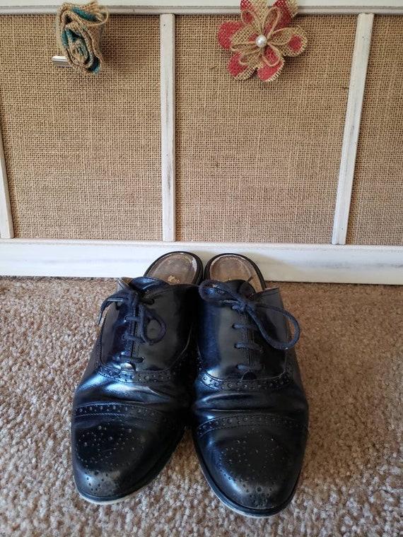 Vintage 1980s Black Leather US Size 6.5 Ladies Ox… - image 2