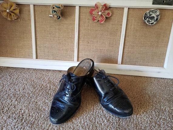 Vintage 1980s Black Leather US Size 6.5 Ladies Ox… - image 1