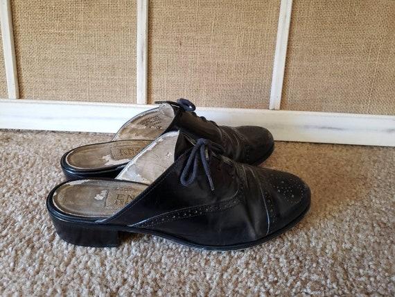Vintage 1980s Black Leather US Size 6.5 Ladies Ox… - image 4