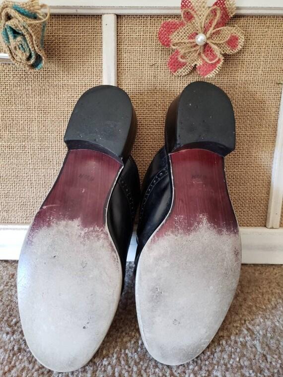 Vintage 1980s Black Leather US Size 6.5 Ladies Ox… - image 7