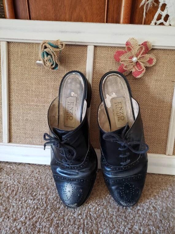 Vintage 1980s Black Leather US Size 6.5 Ladies Ox… - image 5