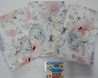 Floral Burp Cloth Pastel Succulents 1 only White Toweling Backed GREAT GIFT IDEA