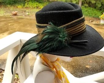 3dd4c51f16ffad Vintage Lady's Black Hat with Feathers | Wiener Modell Austrian Trachten,  Tyrolean Hat | Wide Brim Wool Felt Fedora | October Fest