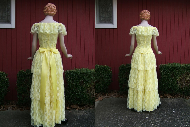 Long Vintage Ruffle Skirt Dress Vintage 1970s Yellow Lace Dress Off The Shoulder 70s Floor Length Ball Gown Wedding Dress Bridesmaid