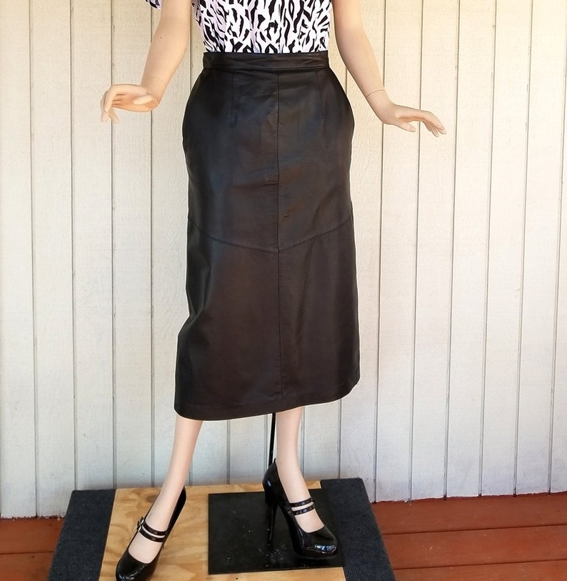 733e23cdb31b Vintage Leather Pencil Skirt 1980s Black Leather Skirt | Etsy