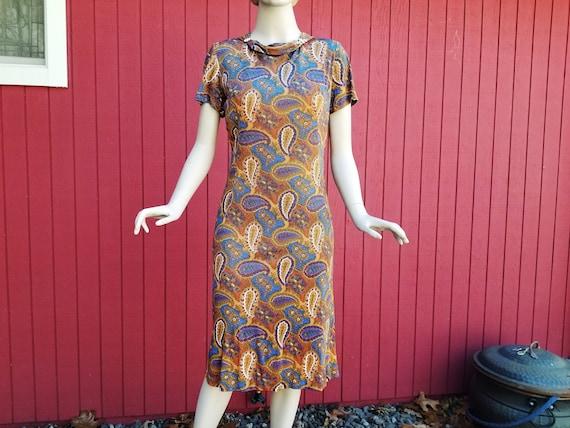 Vintage 1950s / 1960s Paisley Dress with Rhineston
