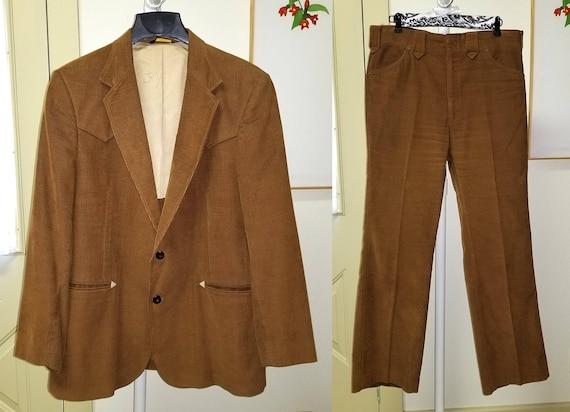 Costume en velours côtelé hommes Vintage par Haggar Mustang Western Wear   Costume de Cowboy brun doré, des hommes Blazer et pantalon   Retro pour hommes