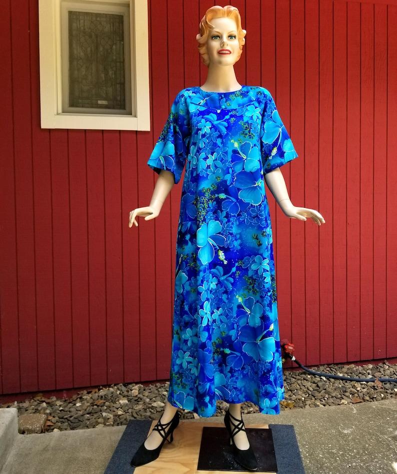Summer Beach Dress Floral Tropical Maxi Dress Long Blue Aloha Dress Muumuu Vintage 1970s Hawaiian Dress by Mei Jan of Hawaii