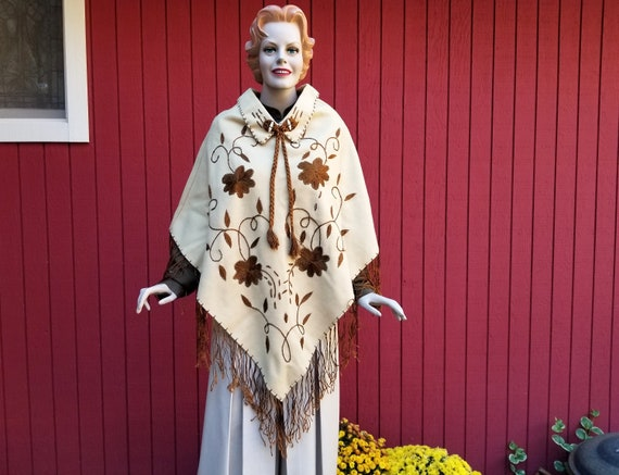 Vintage 1960s Embroidered Wool Poncho with Fringe