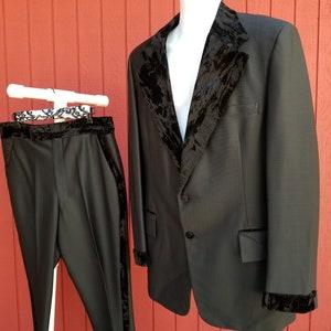 60s 40S Chiarella Tuxedo Tux Suit Notch Collar short leg Wool Black
