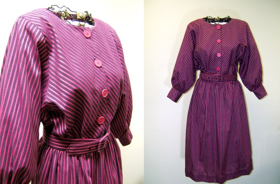 Vintage Pink And Purple Striped Dress With Belt Large Rk Etsy