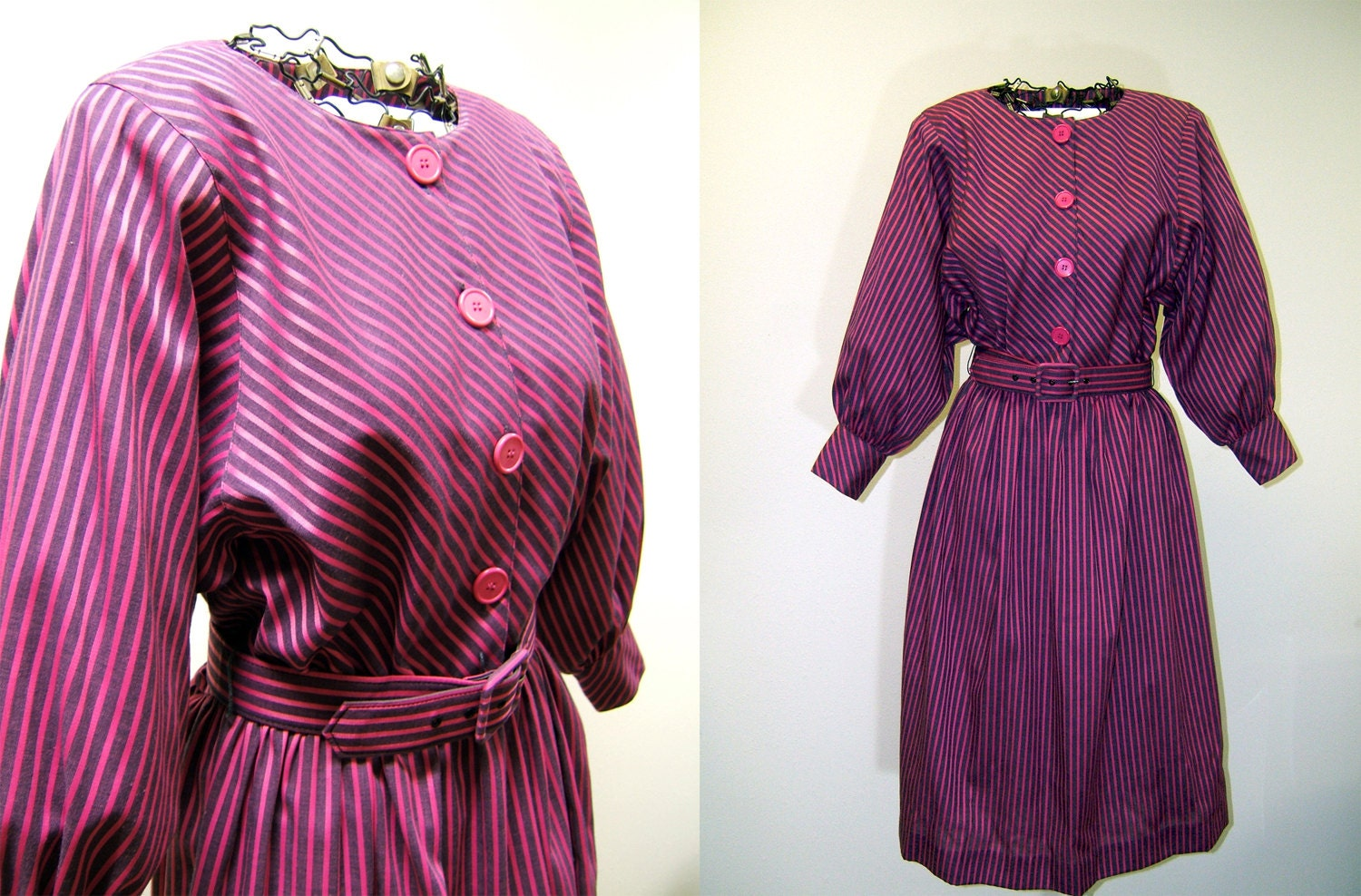 e5317f88167c Vintage Pink and Purple Striped Dress with Belt Large R K
