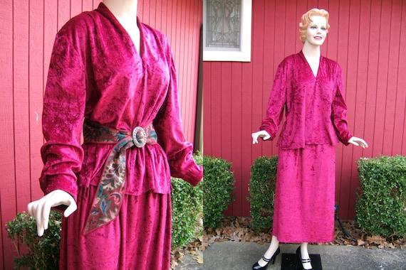 Vintage 1970s Burgundy Red 2 Piece Maxi Dress | Vi