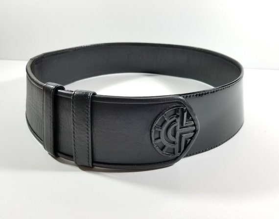 Vintage Louis Feraud Paris Wide Black Leather Belt