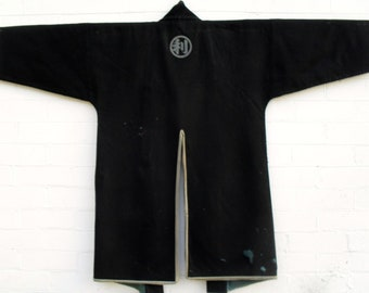 "Japanese ""Dochugi"" or ""Katabira""..Travelling Coat (Edo Period) Black wool and silk.handwoven. Rare collectors item"