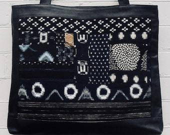 """Japanese indigo boro tote bag """"Tout sac"""" ...everything bicycle bag"""