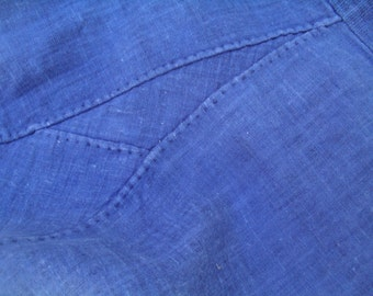 Japanese antique Momohiki (farmer's trousers) Meiji Period Early to mid 1900s hand stitched handwoven indigo dye ,boro fabric
