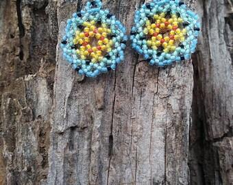 Handmade Beaded Mandala Earrings