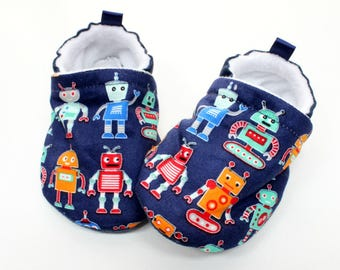 baby shoes boy, navy blue robots, soft sole baby shoes, boy baby shoes