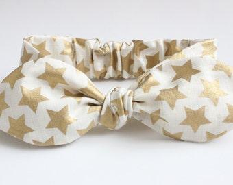Gold metallic star baby headband, gold with sketch lines, baby headband