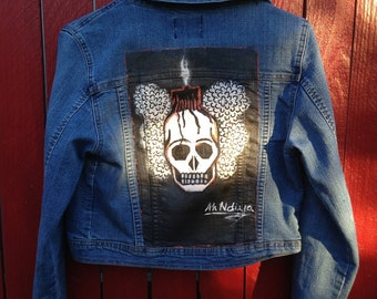 Hand painted Thrifted Jean Jacket