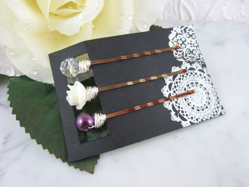 Bridesmaid Gift Bridal Hair Accessories Silver Hair Clips Plum Hair Pins Flower Hair Pins Wedding Hair Pins Whimsical Wedding