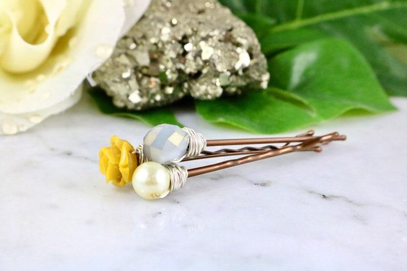 Rose Bobby Pins Pearl Hair Pins Mustard Hair Pins Flower Hair Clips
