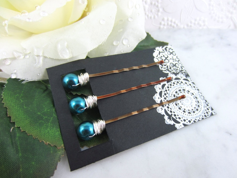 Bridal Hair Pins Teal Blue Silver Pearl Hair Pins Wedding Hair Accessories Pearl Hair Pins Teal Hair Pins Teal Pearl Hair Pins
