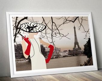 Fashion Paris - Fashion Illustration - Retro Fashion Art - Wall Decor- Digital Collage Art Print -Digital Illustration  -