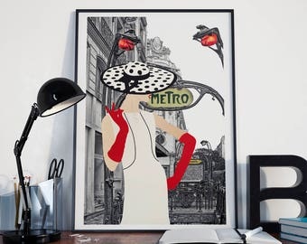Vintage Paris - Fashion Illustration - Retro Fashion Art - Digital Collage - Art Print. - Chanel