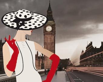 Vintage London - Fashion Illustration - Retro Art - Digital Collage - Art Print - Wall Decor